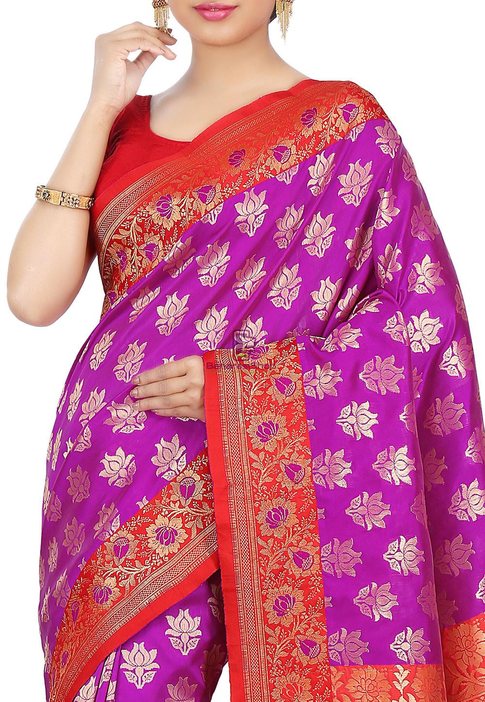 Woven Banarasi Art Silk Saree in Purple 2