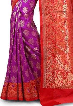 Woven Banarasi Art Silk Saree in Purple 7
