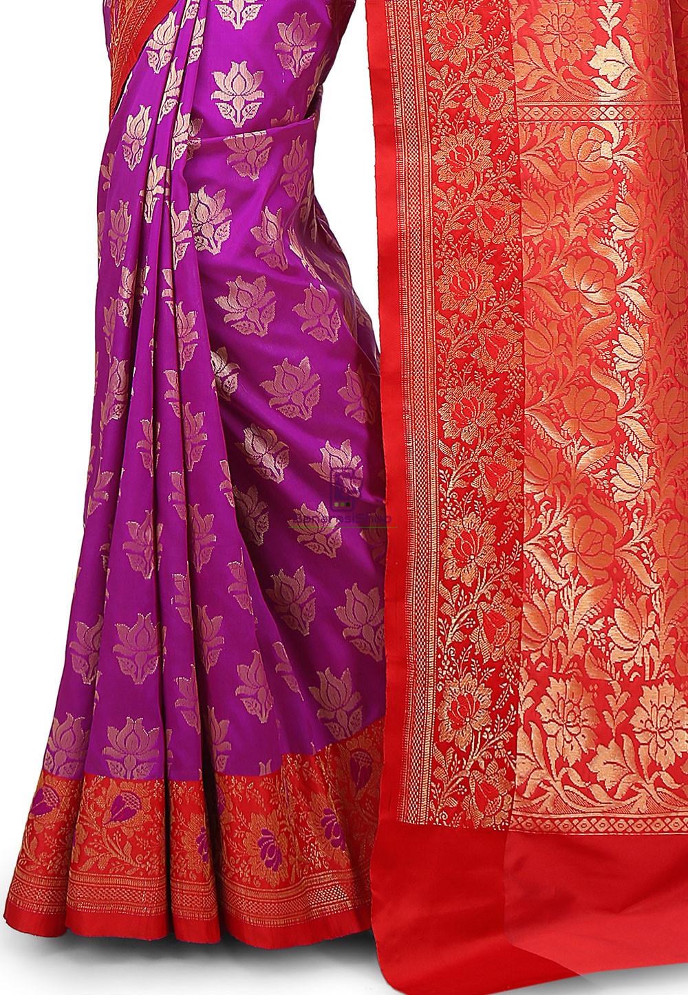 Woven Banarasi Art Silk Saree in Purple 3