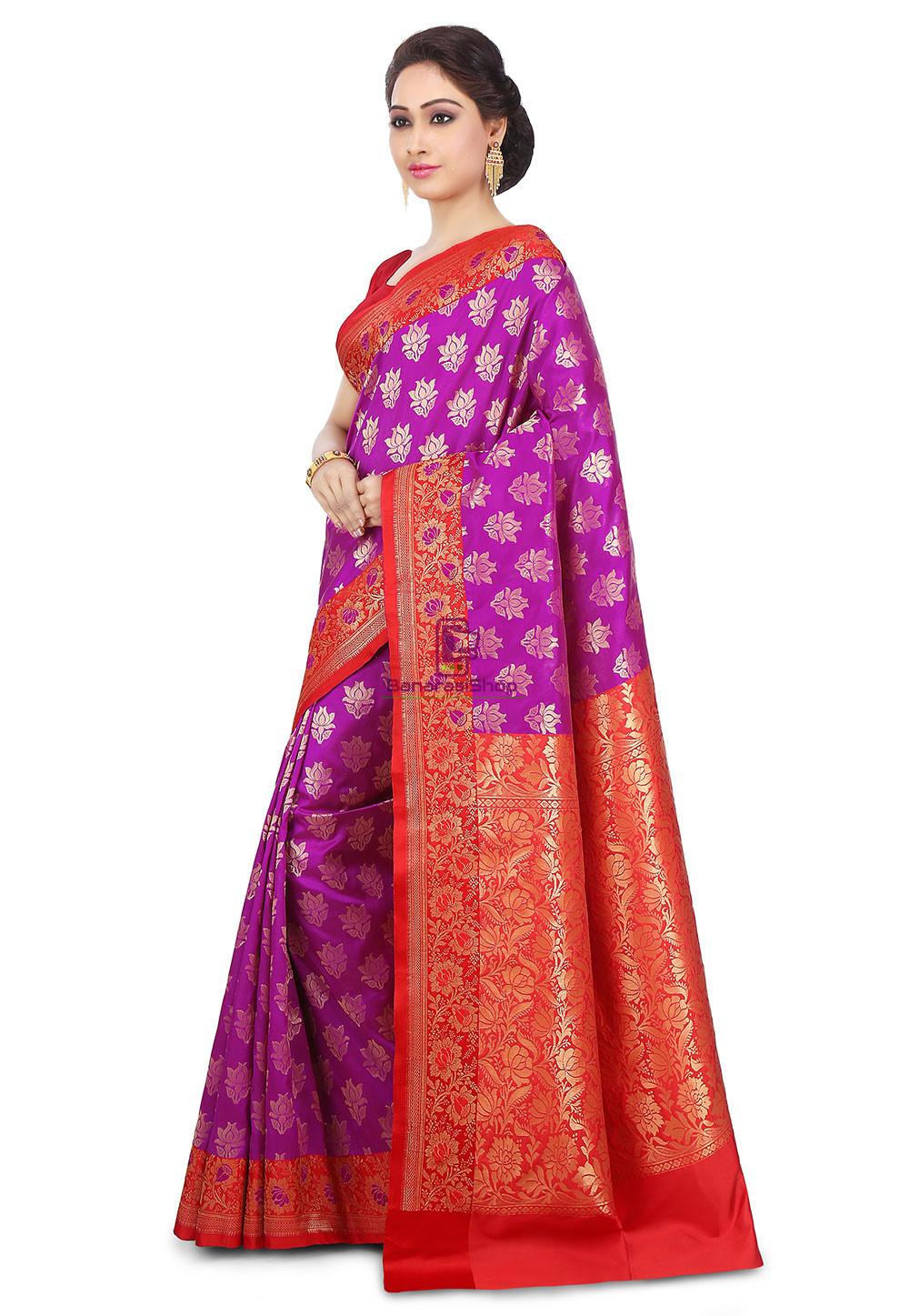Woven Banarasi Art Silk Saree in Purple 5