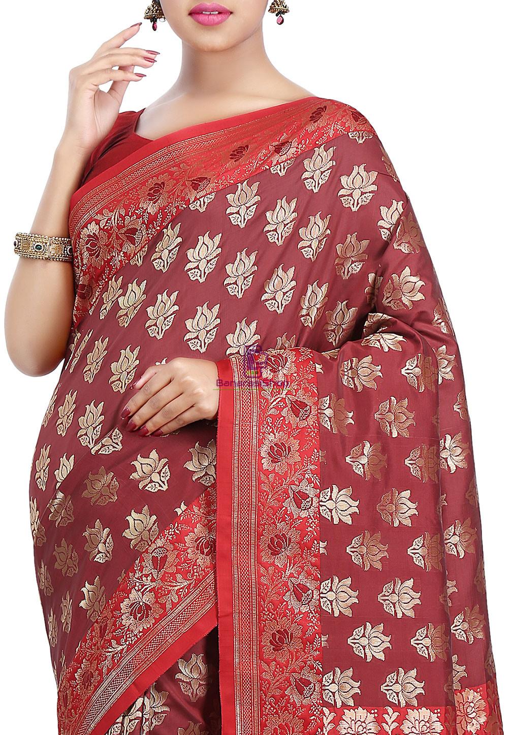 Woven Banarasi Art Silk Saree in Maroon and Red 2