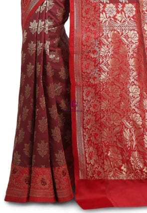 Woven Banarasi Art Silk Saree in Maroon and Red 7