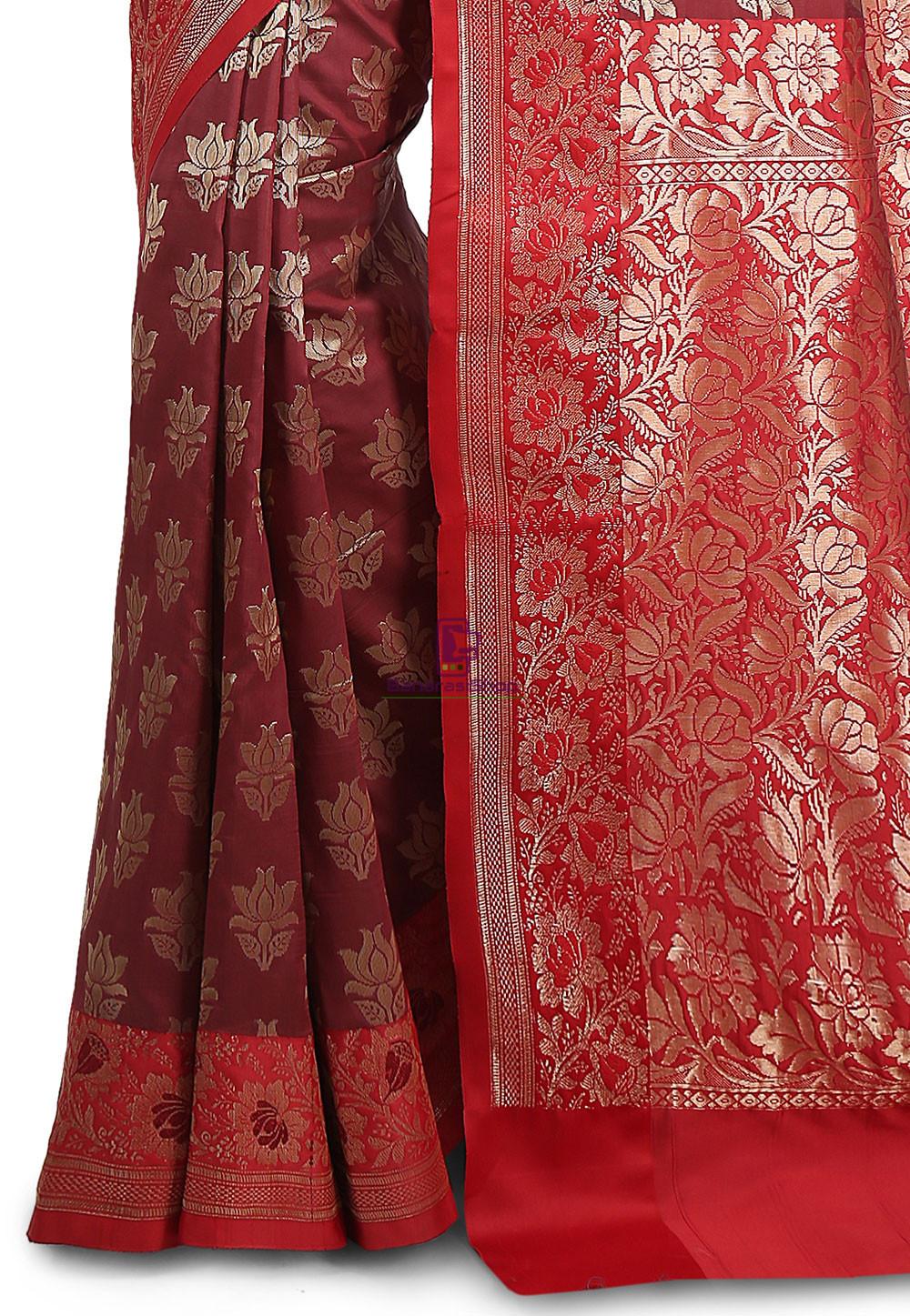 Woven Banarasi Art Silk Saree in Maroon and Red 3