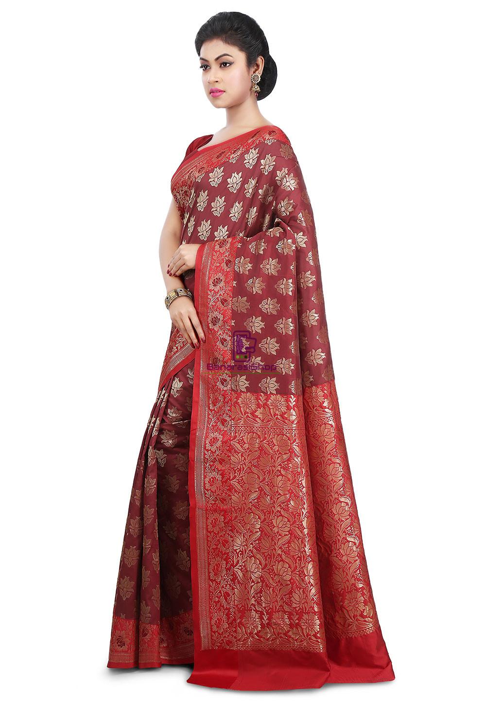 Woven Banarasi Art Silk Saree in Maroon and Red 5