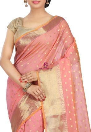 Woven Banarasi Cotton Silk Saree in Peach 7