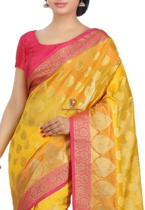 Woven Banarasi Cotton Silk Saree in Mustard 6