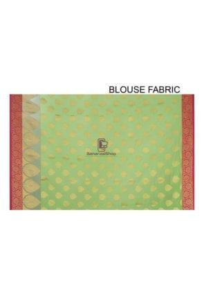 Woven Banarasi Cotton Silk Saree in Light Green 8