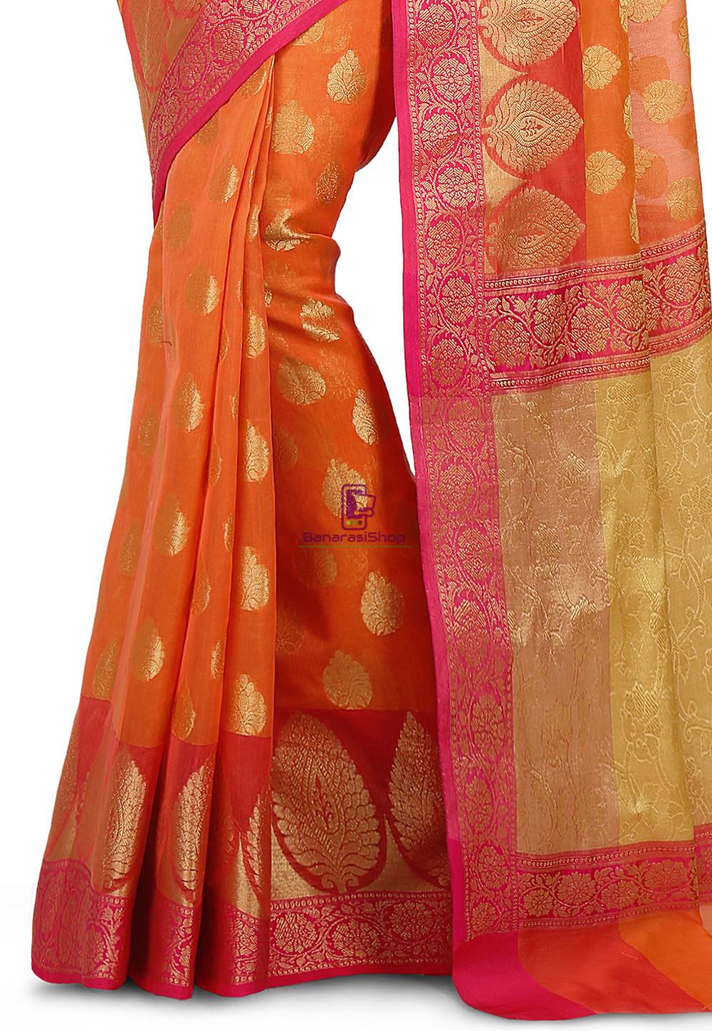 Woven Banarasi Cotton Silk Saree in Orange 3