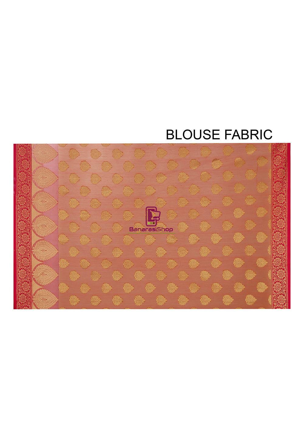 Woven Banarasi Cotton Silk Saree in Orange 4