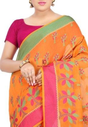Woven Banarasi Cotton Silk Saree in Orange 6