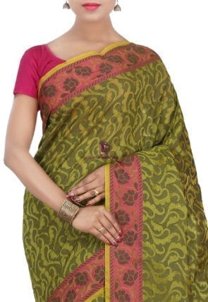 Woven Banarasi Cotton Silk Saree in Olive Green 7