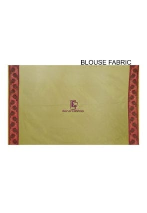 Woven Banarasi Cotton Silk Saree in Olive Green 5