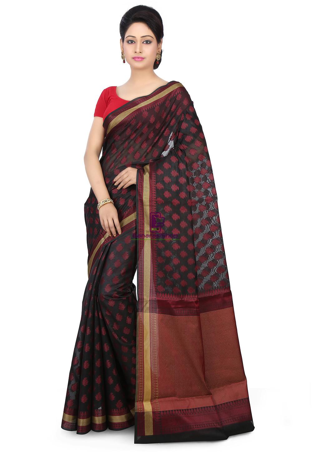 Woven Banarasi Chanderi Silk Saree in Black 1