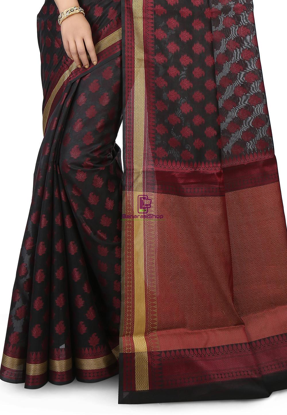 Woven Banarasi Chanderi Silk Saree in Black 2