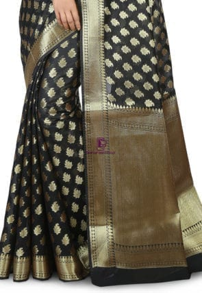 Woven Banarasi Chanderi Silk Saree in Black 5