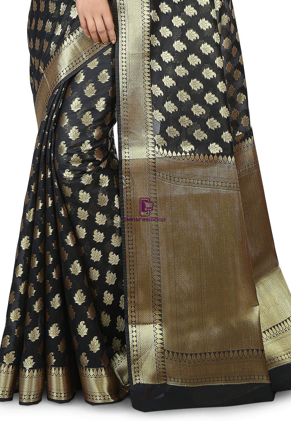 Woven Banarasi Chanderi Silk Saree in Black 3