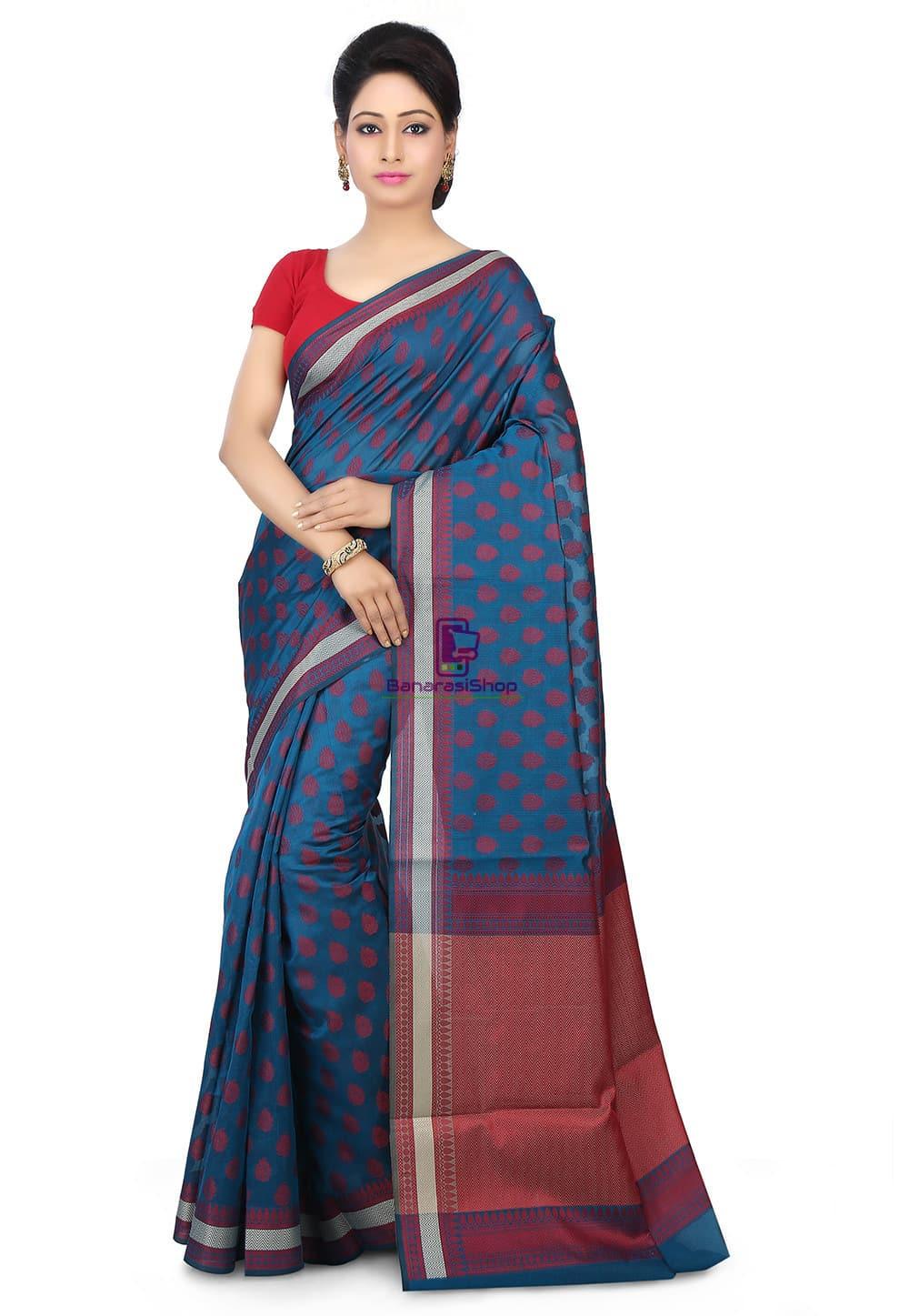 Woven Banarasi Chanderi Silk Saree in Teal Blue 1