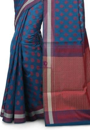 Woven Banarasi Chanderi Silk Saree in Teal Blue 4