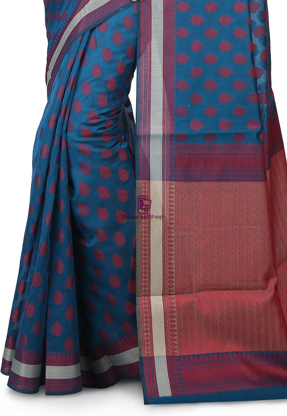 Woven Banarasi Chanderi Silk Saree in Teal Blue 2