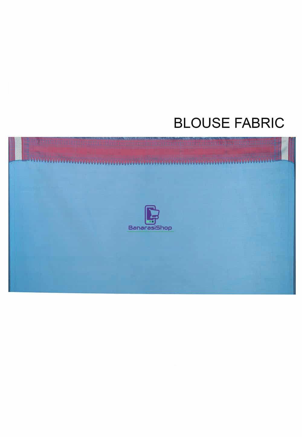 Woven Banarasi Chanderi Silk Saree in Teal Blue 3