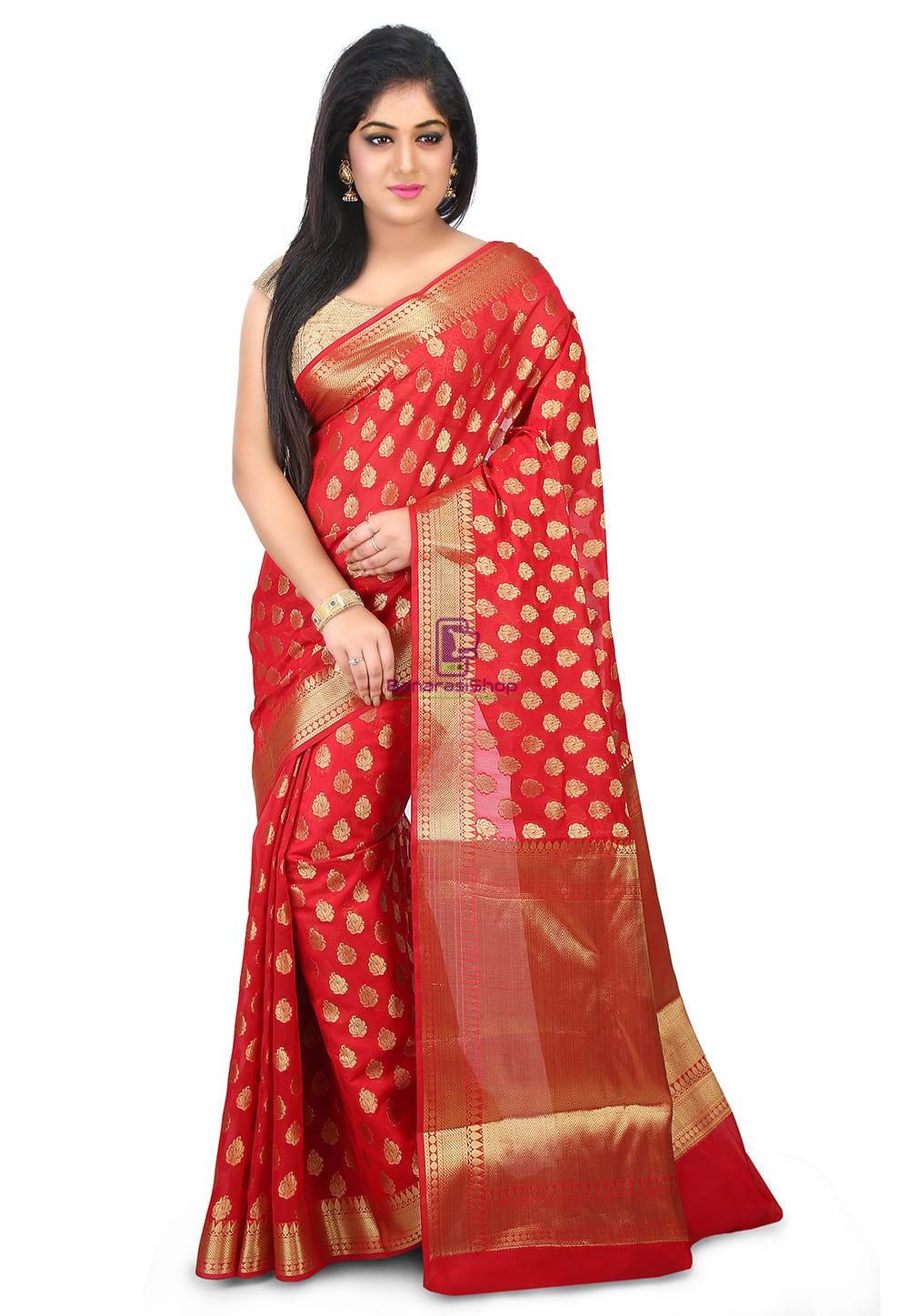Woven Banarasi Chanderi Silk Saree in Red 1