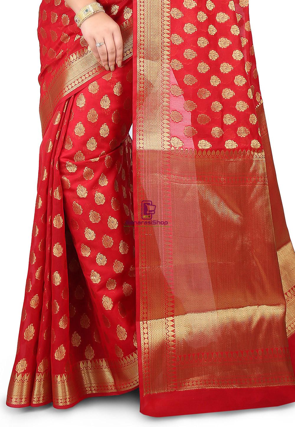 Woven Banarasi Chanderi Silk Saree in Red 2