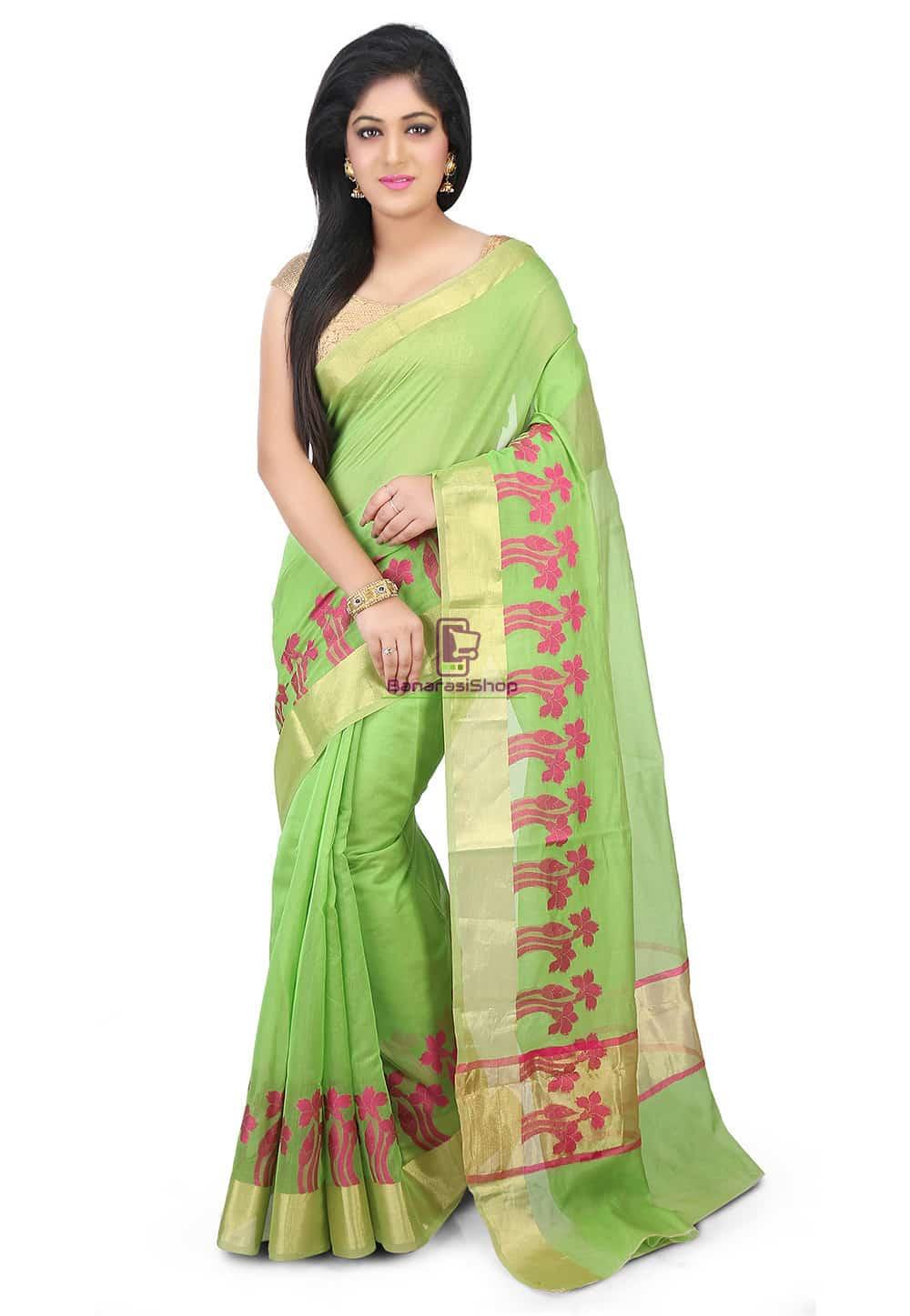 Woven Banarasi Chanderi Silk Saree in Light Green 1