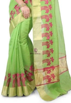 Woven Banarasi Chanderi Silk Saree in Light Green 4
