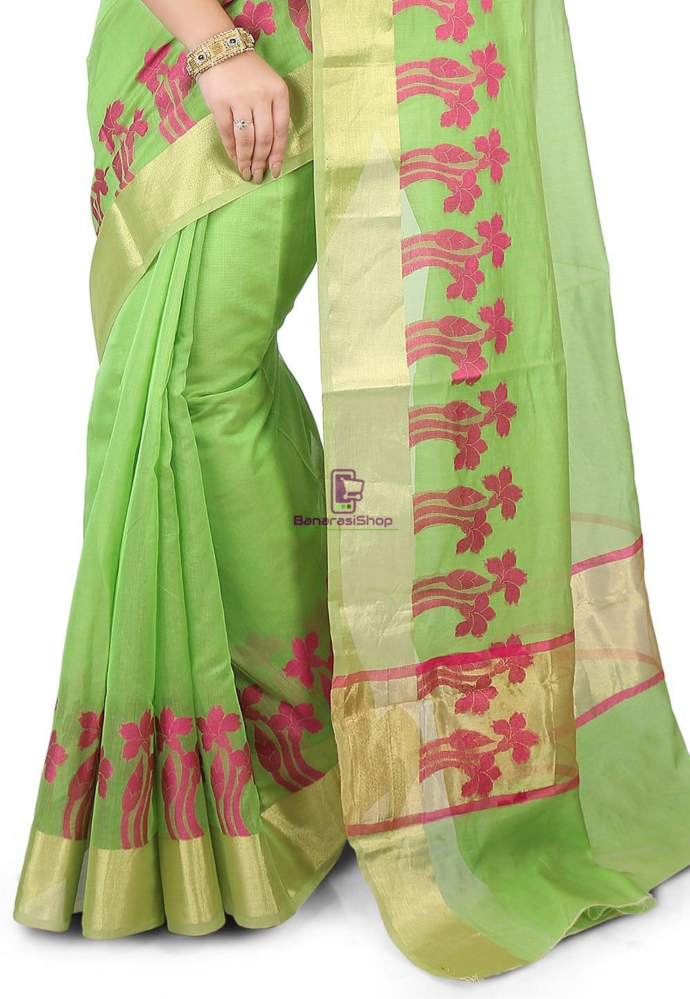 Woven Banarasi Chanderi Silk Saree in Light Green 2