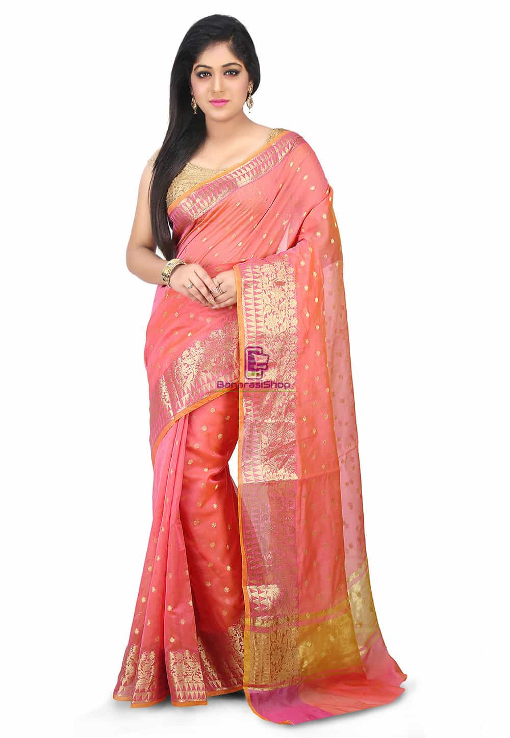 Woven Banarasi Chanderi Silk Saree in Pink 1