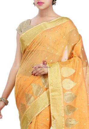 Woven Banarasi Chanderi Silk Saree in Mustard 6