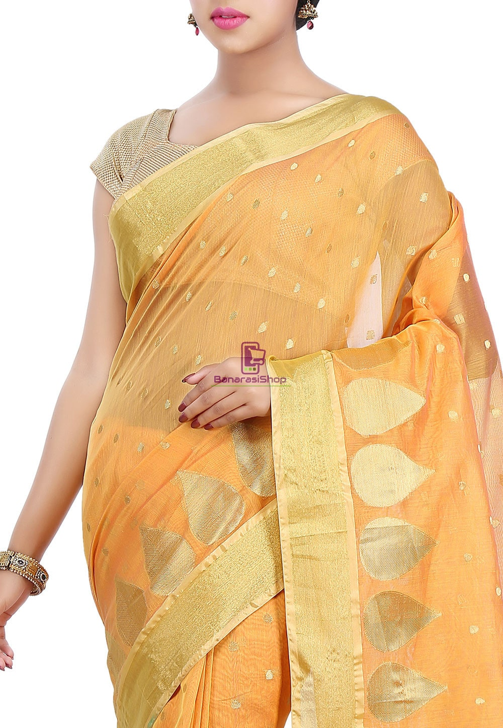 Woven Banarasi Chanderi Silk Saree in Mustard 2
