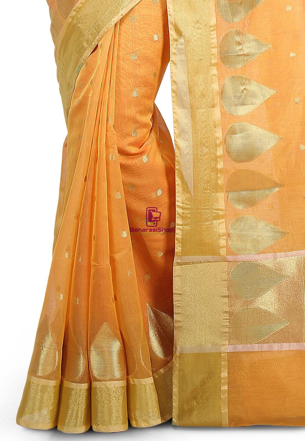 Woven Banarasi Chanderi Silk Saree in Mustard 3