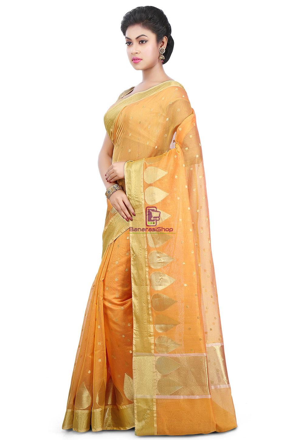 Woven Banarasi Chanderi Silk Saree in Mustard 5