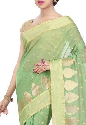 Woven Banarasi Chanderi Silk Saree in Pastel Green 6