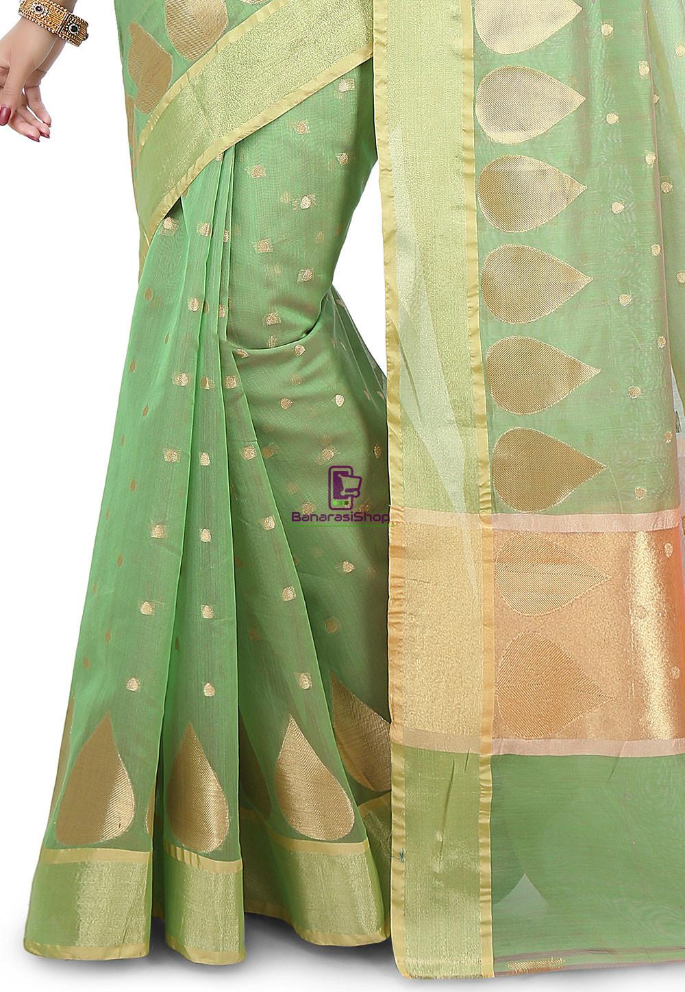 Woven Banarasi Chanderi Silk Saree in Pastel Green 3