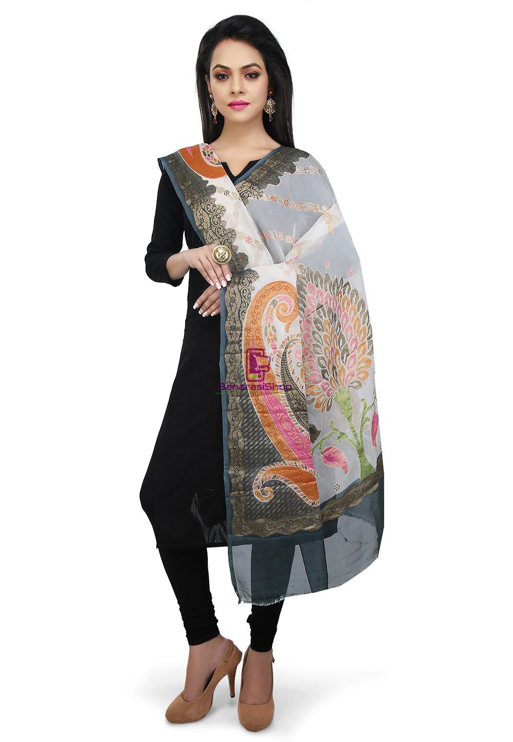 Handloom Banarasi Pure Georgette Dupatta in Off White and Grey 1