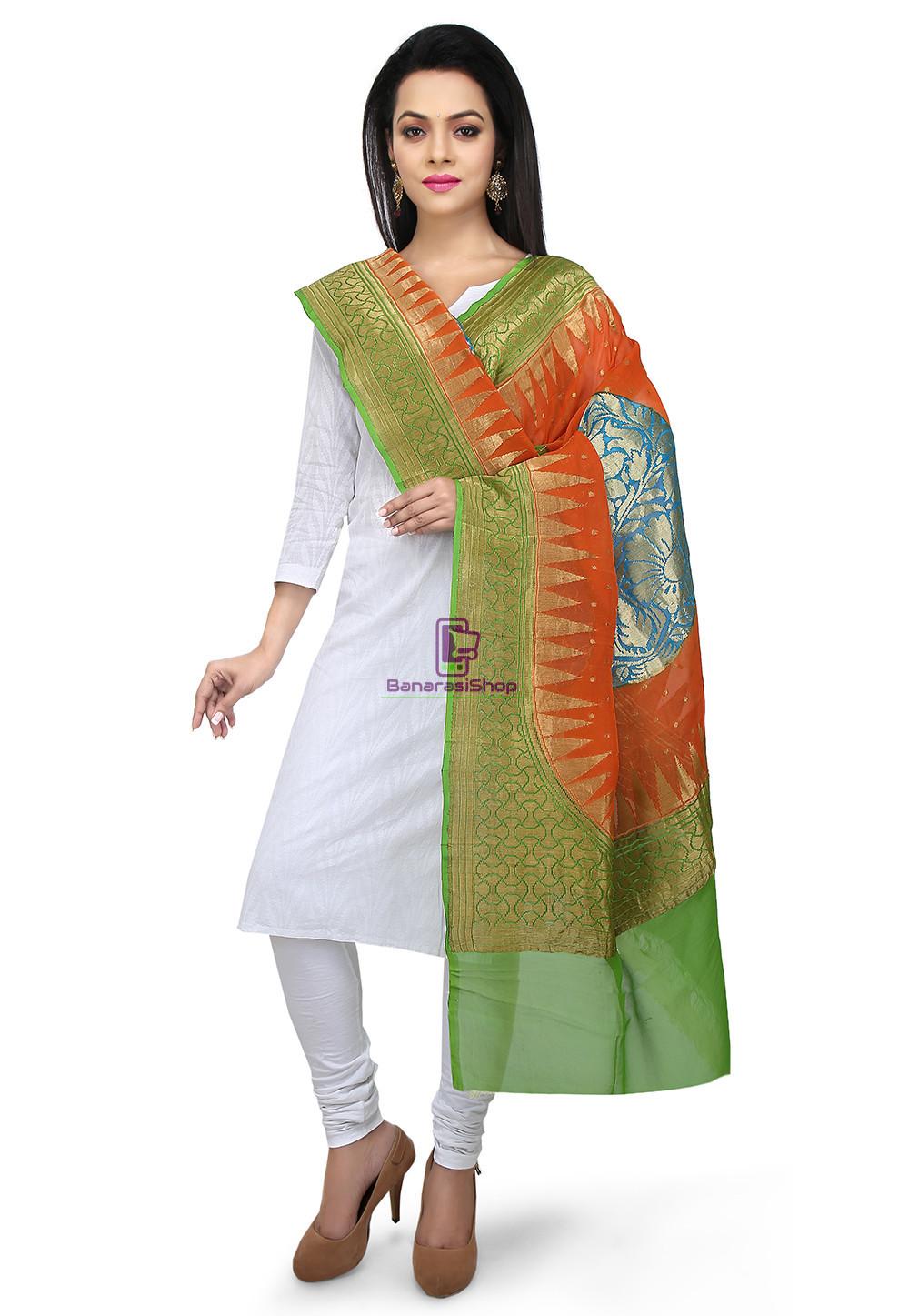 Handloom Banarasi Pure Georgette Dupatta in Orange and Green 1