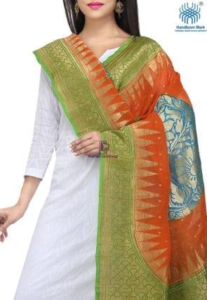 Handloom Banarasi Pure Georgette Dupatta in Orange and Green 3
