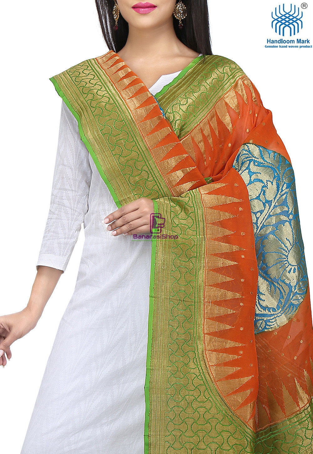 Handloom Banarasi Pure Georgette Dupatta in Orange and Green 2