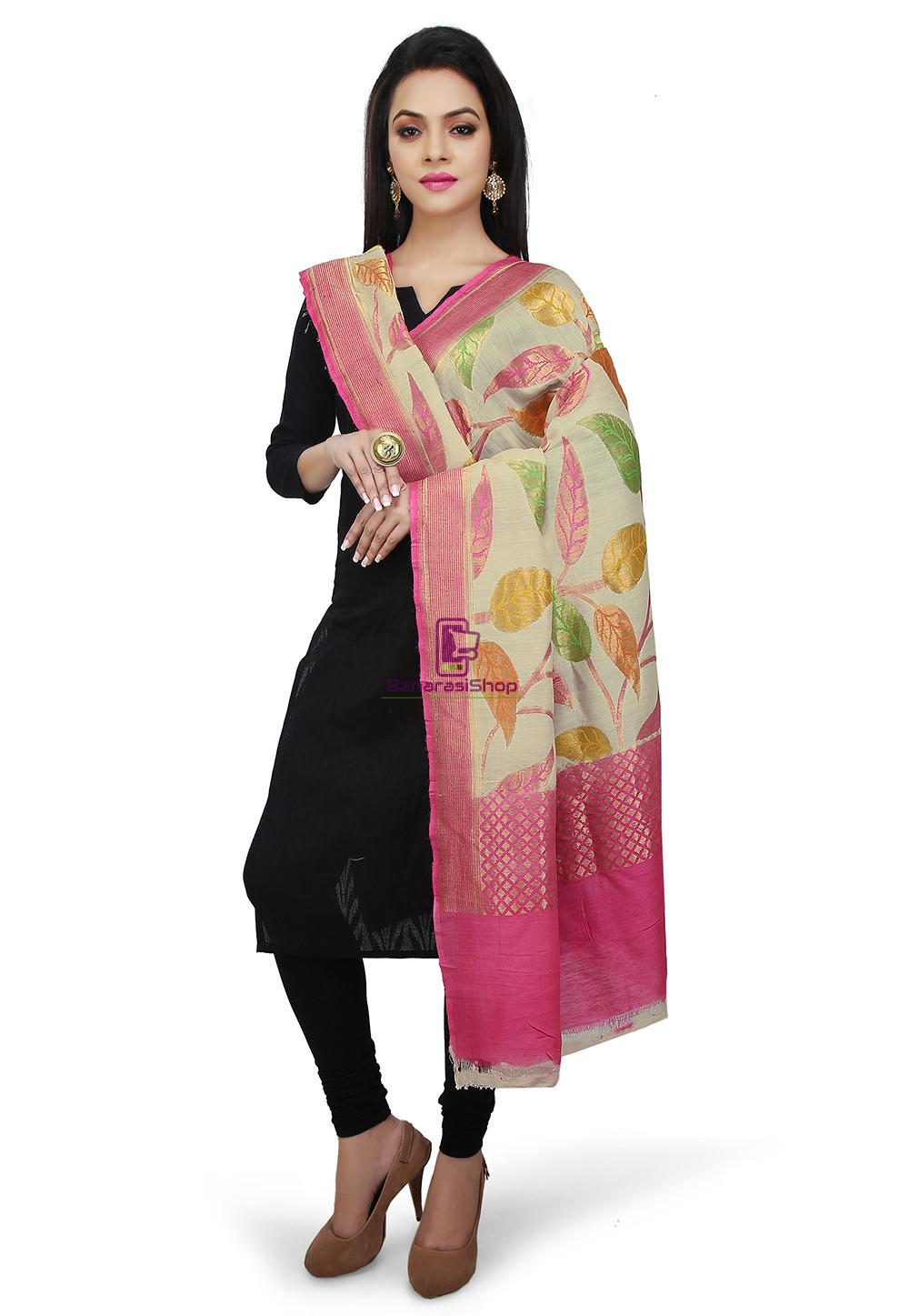 Handloom Banarasi Pure Muga Silk Dupatta in Light Beige and Pink 1