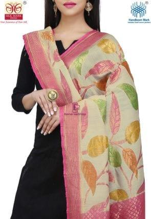 Handloom Banarasi Pure Muga Silk Dupatta in Light Beige and Pink 3