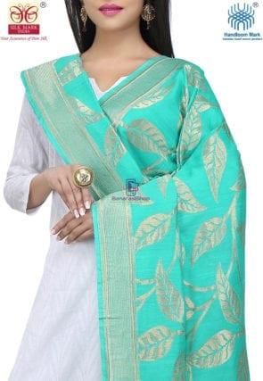 Handloom Banarasi Pure Muga Silk Dupatta in Turquoise 3