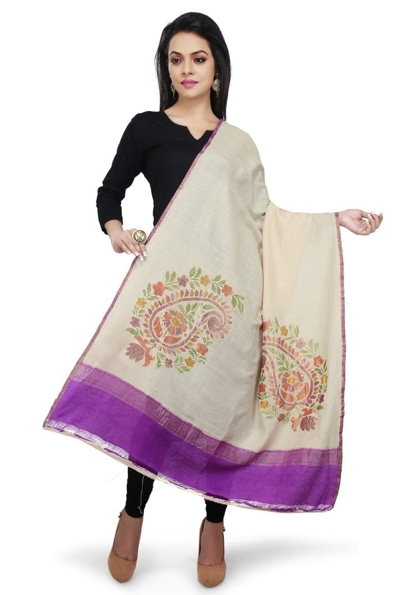 Handloom Banarasi Pure Muga Silk Dupatta in Beige 1