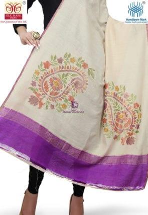 Handloom Banarasi Pure Muga Silk Dupatta in Beige 3