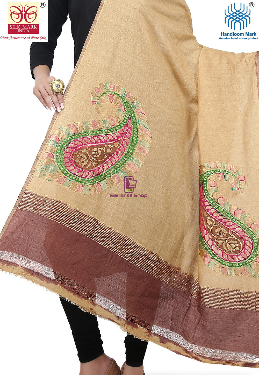 Handloom Banarasi Pure Muga Silk Dupatta in Beige 2