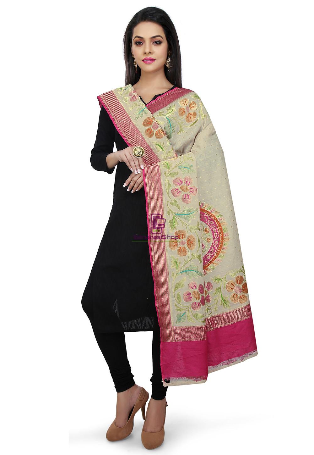 Handloom Banarasi Pure Muga Silk Dupatta in Light Beige and Fuchsia 1
