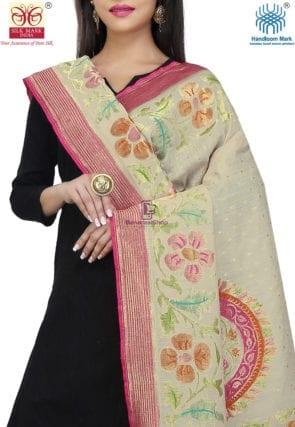 Handloom Banarasi Pure Muga Silk Dupatta in Light Beige and Fuchsia 3
