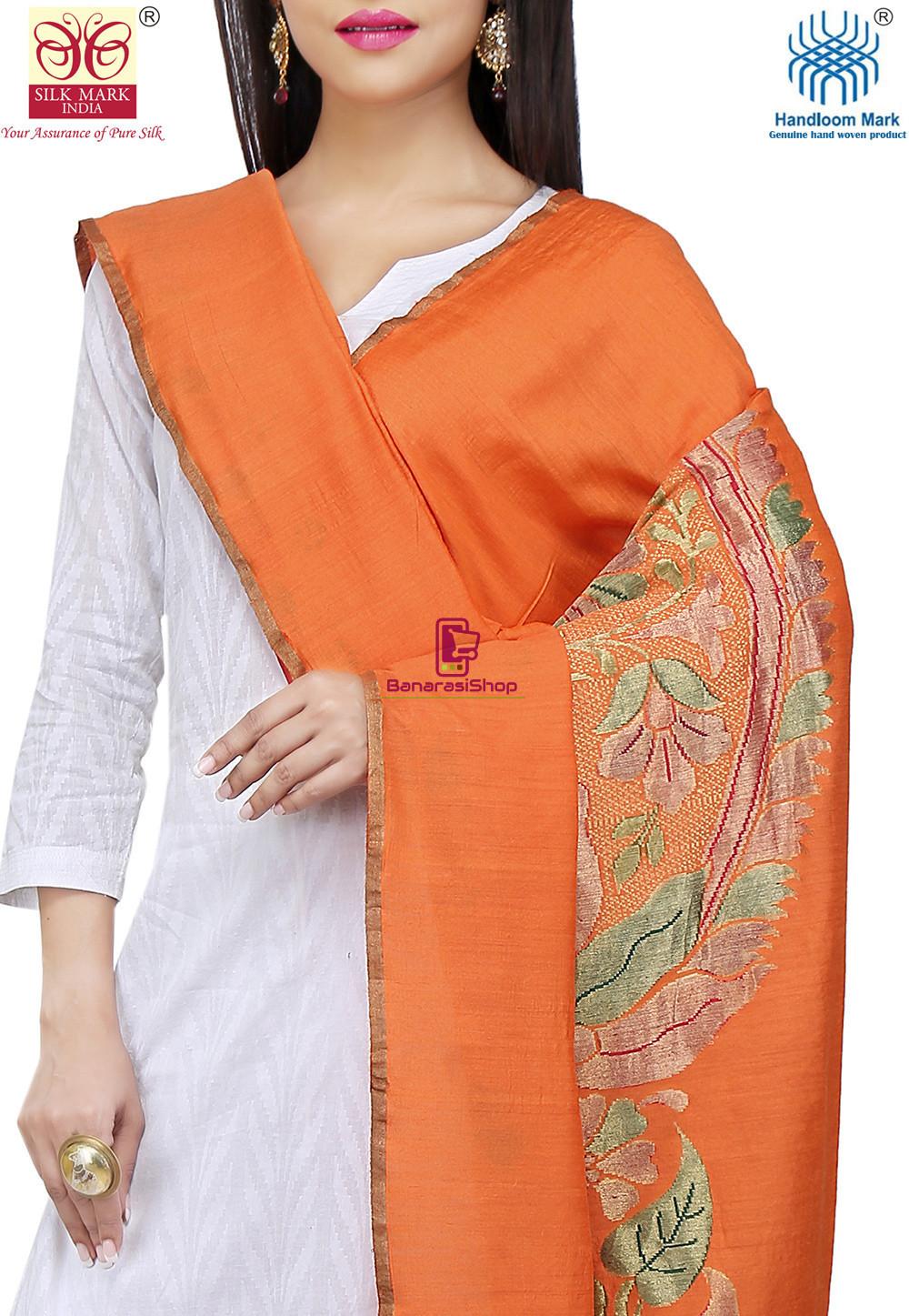 Handloom Banarasi Pure Muga Silk Dupatta in Orange 2