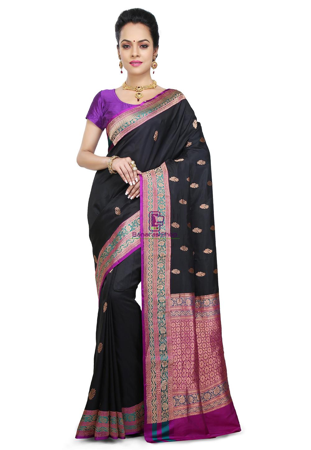 Banarasi Pure Katan Silk Handloom Saree in Black 1